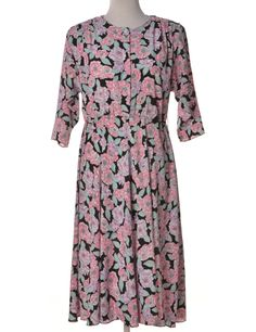 Vintage Day Dress Pink With Removable Shoulder Pads | Beyond Retro