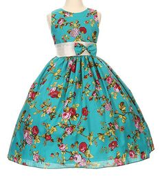 Take a look at this Shanil Teal Floral A-Line Dress - Toddler & Girls today!