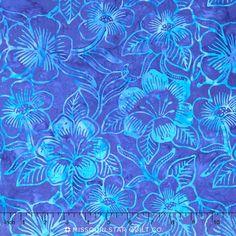 Bali Batiks - Costa Luna Flora Cobalt Yardage - Benartex Fabrics - Benartex