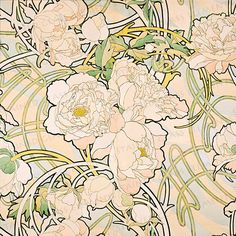 Mucha ceramic decals, flowers. For sale at the Etsy shop of Stained Glass Elements