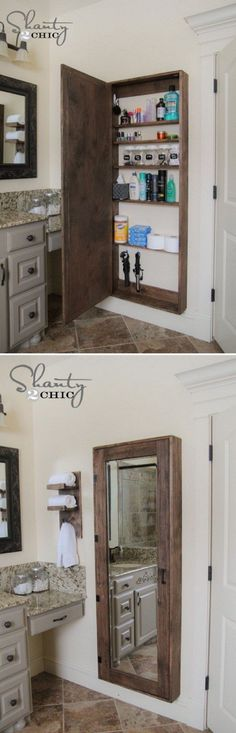 A big bathroom storage case behind the mirror to hold all the goodies ==> for upstairs bathroom, behind door