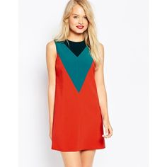 ASOS Shift Dress in Color Block with V-Detail (€28) ❤ liked on Polyvore featuring dresses, multi, rayon dress, color block dress, colorblock dress, colorblock shift dress and loose dresses