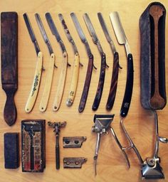 Old school barber stuff. Nice collection (not for shaving beards of course! Straight Razor Shaving, Shaving Razor, Wet Shaving, Shaving Blades, Men's Grooming, Shaving & Grooming, The Art Of Shaving, Art Of Manliness, Man Up