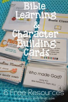learning & character building cards: {free resources Bible Learning and Character Building Cards~ 6 FREE Resources Bible Study For Kids, Bible Lessons For Kids, Kids Bible, Baby Bible, Toddler Bible, Preschool Bible Lessons, Bible Activities For Kids, Indoor Activities, Summer Activities