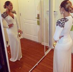 #White Long Dress #duongdayslook #long fashion #white dress www.2dayslook.com