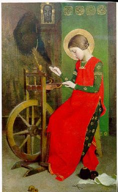 Marianne Perindelsberger Stokes, St. Elizabeth of Hungary Spinning for the Poor, 1895.