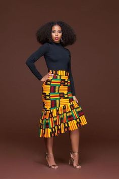 In Autumn the leaves drop, in the African Print Ren Pencil Skirt, jaws will. We'll apologise in advance for the envy you're going to generate, not only for wearing the African print Ren Pencil skirt, but for owning it. This piece is set to be the go to pe African Print Skirt, African Print Dresses, African Fashion Dresses, African Attire, African Wear, African Women, African Style, African Prints, African Outfits