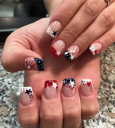 of july nails. Pic by finetouchnails_nutley - of july nails. Pic by finetouchnails_nutley of july nails. Pic by finetouchnails_nutley July 4th Nails Designs, Nail Art Designs, 4th Of July Nails Diy, 4th Of July Makeup, Fingernail Designs, Seasonal Nails, Holiday Nails, French Nails, French Pedicure