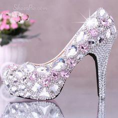 Cute Closed Toe Pink Crystal Stiletto Heel Wedding Shoes USD ...