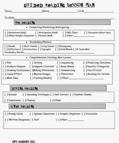 Guided Reading Lesson Plan Template  Reading Lessons And Ideas