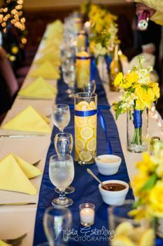 wedding decorations for tables in light blue and yellow - Google Search