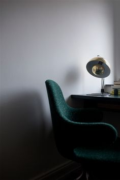 Catch chair JH2 by Jaime Hayon and Flowerpot lamp VP4 by Verner Panton
