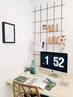 aperçu d'une partie de notre bureau à Lausanne   workplace   minimal   ui design   ux design Lausanne, Flip Clock, Minimal, Interior Design, Studio, Home Decor, Desk, Organization, Nest Design
