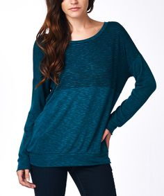 23361d4bdfd Look at this tresics Teal   Black Stripe Scoop Neck Top - Women by tresics