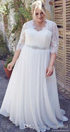 68cd062c99f Discount Vintage Lace Wedding Dress Plus Size 3 4 Long Sleeves Illusion  Designer Crystal Rhinestones Chiffon Wedding Dresses Bridal Gowns Custom A  Line ...