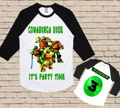 Ninja Turtles Birthday Shirt - TMNT Birthday Shirt by BirthdaysGalore on Etsy https://www.etsy.com/listing/468539180/ninja-turtles-birthday-shirt-tmnt