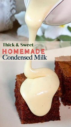 This is possibly the easiest, quickest, and best homemade condensed milk recipe you will find. After experimenting to come up with a good recipe, we were surprised at how delicious this condensed milk tasted. Whether you're looking to sweeten your bakes or make instant mithai, this recipe will make cooking simpler, fun, and so much tastier. Indian Dessert Recipes, Sweets Recipes, Desert Recipes, Snack Recipes, Cooking Recipes, Homemade Condensed Milk, Sweet Condensed Milk, Condensed Milk Recipes, Easy Chocolate Fudge