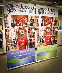 """Here are two more pop-up banners side by side for Odyssey Of The Mind, Pop Up Banner, Retractable Banner, Banners, Photo Wall, Layout, Indoor, Twitter, Frame"