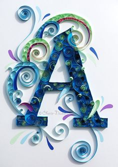 Discover thousands of images about Quilling. I know it's quilling but I love the colors. Arte Quilling, Quilling Letters, Origami And Quilling, Quilled Paper Art, Paper Quilling Designs, Quilling Paper Craft, Quilling Ideas, Quilling Tutorial, Scrapbooking Quilling