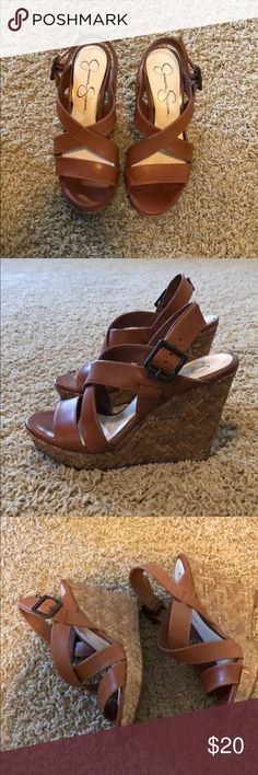 Jessica Simpson wedges Size 7.5 Brown Jessica Simpson wedge sandals. Worn once. Jessica Simpson Shoes Wedges