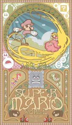 Super Mario World Art Nouveau by gamers Super Mario World, Mundo Super Mario, Super Mario Bros, Art Nouveau, Mario Nintendo, Cinema Art, Bad Trip, Mario Und Luigi, Princesa Peach