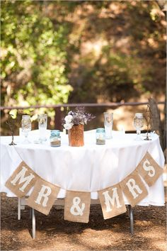 Set up a Sweetheart Table at your wedding, and make this great banner. So great! #countrywedding #westernwedding #reception