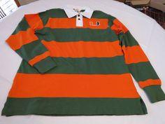University Miami Hurricanes L RARE long sleeve polo shirt Striped Colony NWT*^ #Colony #Florida