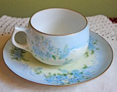Antique Cup and Saucer with Forget Me Not pattern. Bavarian Thin Porcelain Tea or Coffee Cap with Saucer.