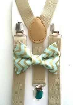 Tan suspenders and mint and gold chevron bow tie! Bow tie, suspenders, kids fashion, boys accessories, chevron, polka dot, wedding, ring bearer, groomsmen, spring photos, photoshoot, photo prop: www.bowtiefun.com