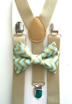 Tan suspenders and mint and gold chevron bow tie! Bow tie, suspenders, kids fashion, boys accessories, chevron, polka dot, wedding, ring bearer, groomsmen, spring photos, photoshoot, photo prop: www.bowtiefun.com