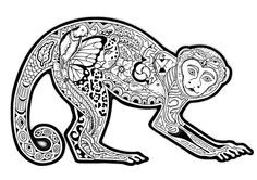 Free coloring page coloring-difficult-monkey. A coloring page with a monkey full of various plant patterns