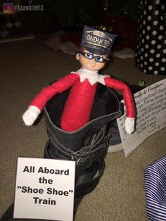 """Elf on the Shelf Train ideas.  Alllllllllll Aboard the """"Shoe-Shoe"""" Train!!! And Happy Birthday to Brody!!! He got a new elf, with brown eyes like him. He named him Elfonso. We'll be going on the Mommy & Daddy Express tonight to go to the Many Lights of Christmas light show. Elves brought kids and their friends some conductor hats. Then we'll come back home for pizza to eat and watch The Polar Express.  December 19, 2016.  #elfontheshelf #elf #jingleelf #lasheself #shoeshoetrain Christmas Light Show, Christmas Lights, Christmas Tree, Shelf Elf, Elf On The Shelf, Polar Express Theme, Elf 2, Library Shelves, Shoe Shoe"""
