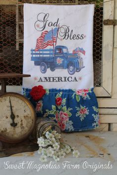 """Flour Sack Kitchen of July, Red White and Blue """"God Bless America""""… Hand Towels, Tea Towels, Flour Sack Towels, Dish Towels, Sweet Magnolia, Magnolia Farms, Craft Projects, Sewing Projects, Craft Ideas"""