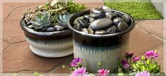 Movable Fountain: A fountain kit, a medium-size pot and a handful of rocks turn a small amount of water into a soothing bubbler.