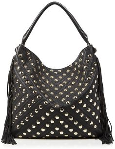 994adcf667 NWT Rebecca Minkoff Black Studded Pebbled Leather Clark Fringe Hobo Bag   clark  fringe  . Rebecca Minkoff HandbagsPurses ...