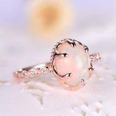 F/&F Ring Fashion White fire Opal Shining Rings For Women Wedding Ring Engagement Bridal Rings