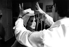 1962 - YSL & Victoire turban by Pierre Boulat With Victoire Doutreleau in white