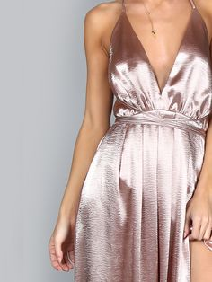Pink Plunge Neck Crisscross Back High Slit Wrap Cami Dress -SheIn(Sheinside)