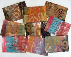 Yesterday I went through all my recent prints from Carla Sonheim's online Gelli printing class, and pulled out the ones I wasn't especially keen on. I cut them up into postcard-size pieces, colored the edges with ink and overprinted with metallic paint. Now they'll get used.