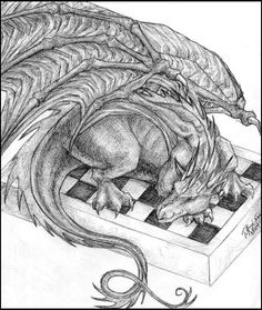 One of my dragon drawings. A dragon hanging on a corner of the paper sheet It was done for letter-illustration purpose.