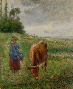 The Athenaeum - PISSARRO, Camille French Pointillist-Impressionist (ca.1830-1903)_Cowherd, Pontoise- 1882