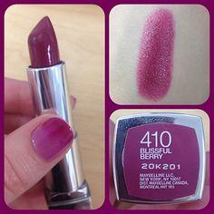 with ColorSensational Lipstick in Blissful Berry Brilliant Berry Lipstick Maybelline Mac Lipstick Shades, Maybelline Lipstick, Berry Lipstick, Purple Lipstick, Lipstick Colors, Lip Colors, Lipsticks, Makeup Swatches, Makeup Dupes