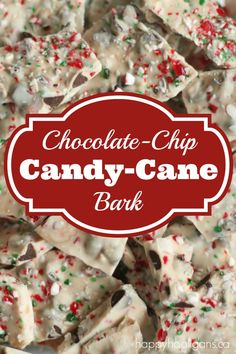 Chocolate Chip Candy Cane Bark!  SO easy!!  Just 3 ingredients, and it's ready in minutes!  Perfect for holiday entertaining or to give as gifts for teachers, friends and neighbours!