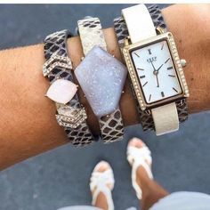 Keep Collective Druzy Stones Snake Double Wrap Keeper Leather Cuff Pave Gold Tank Time Key And Chevron Charms In This Design