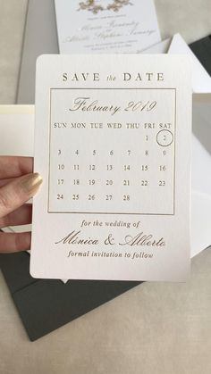 Calendar save the date, Save the date ideas, Save the date ideas for weddings, Save the date, Gold Foil Save The Date Invitations, Modern Wedding Invitations, Wedding Stationary, Wedding Invitation Cards, Save The Date Cards, Wedding Cards, Diy Wedding, Dream Wedding, Wedding Ideas