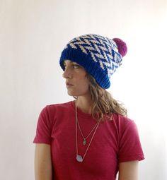 CLEARANCE  Herringbone  Knit Hat Pom Pom  by SourpussKnits on Etsy, $32.00