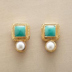 Tibetan Turquoise Earrings: In these exclusive earrings, plump squares of Tibetan turquoise are accented with creamy cultured pearls. Handcrafted settings of gold vermeil frame. Jewelry Design Earrings, Gold Earrings Designs, Pearl Jewelry, Indian Jewelry, Antique Jewelry, Gold Jewelry, Jewelry Accessories, Pearl Earrings, Jewellery Uk