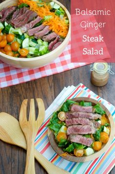 Balsamic Ginger Steak Salad. Asian-marinated beef is paired with a balsamic ginger dressing and toss with romaine, carrots, cucumbers and cherry tomatoes!