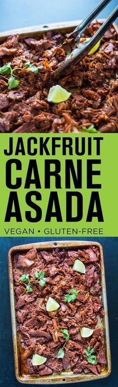 Jackfruit Carne Asada, vegan and gluten-free. Use trader joes taco mix Veggie Recipes, Mexican Food Recipes, Whole Food Recipes, Vegetarian Recipes, Healthy Recipes, Raw Recipes, Recipies, Carne Asada, Vegan Foods