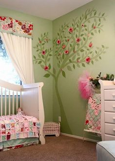Baby girl room ideas green tree wall mural wood you be mine baby girl nursery ideas . Home And Deco, Little Girl Rooms, Girl Nursery, Nursery Ideas, Themed Nursery, Kids Room, Child Room, Bedroom Decor, Bedroom Curtains